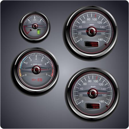 tacometro: Ilustrado autom�viles medidores de gas, petr�leo, bater�a y velocidad. Vectores