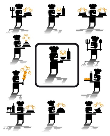 Set of illustrations of chef icons.