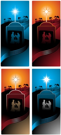 star of bethlehem: Different versions of a vertical banner with the three wise men. Illustration
