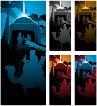 nativity scene: Different versions of a vertical banner with the three wise men. Illustration