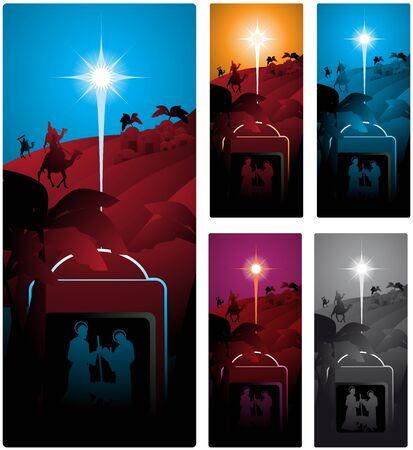 reyes magos: Diferentes versiones de un banner vertical con los tres sabios. Vectores