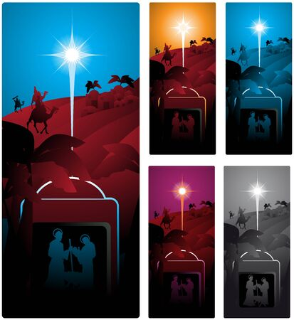 Different versions of a vertical banner with the three wise men. Illustration