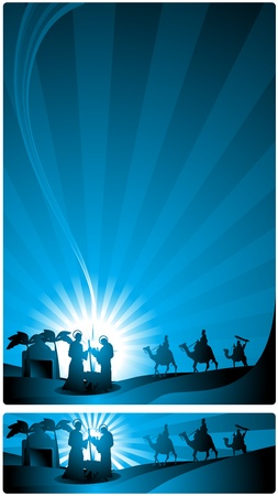reyes magos: Los tres Reyes Magos y el niño Jesús. Dos versiones, una carta en formato y un formato horizontal para banner de Internet.