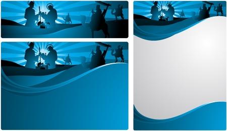 betlehem: Die drei weisen M�nner und das Kind Jesus. Zwei Versionen, eine in Briefform und einem horizontalen Format f�r Internet-Banner