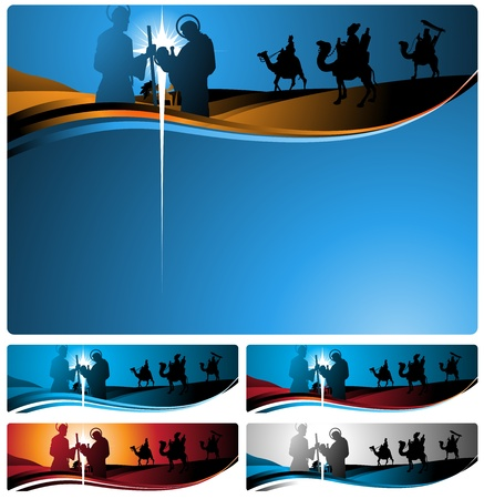 vertical banner: Illustration in different formats, horizontal banner format and horizontal letter format. They represent the nativity scene with the three wise men.