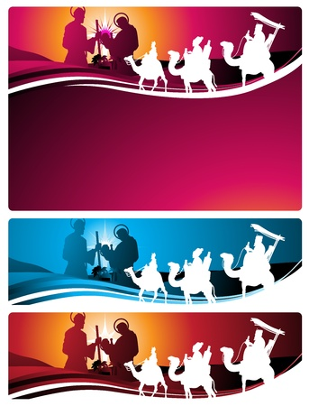 Illustration in different formats, horizontal banner format and horizontal letter format. They represent the nativity scene with the three wise men. Vector