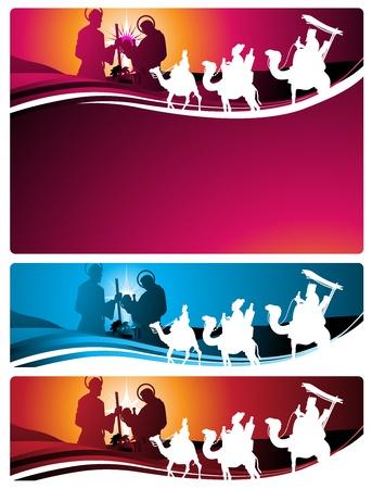 reyes magos: Ilustración en diferentes formatos, formato de banner horizontal y formato de carta horizontal. Representan el pesebre con los tres sabios. Vectores