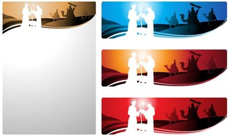 reyes magos: Ilustraci�n en diferentes formatos, formato de banner horizontal y formato de carta vertical. Representan el pesebre con los tres sabios.