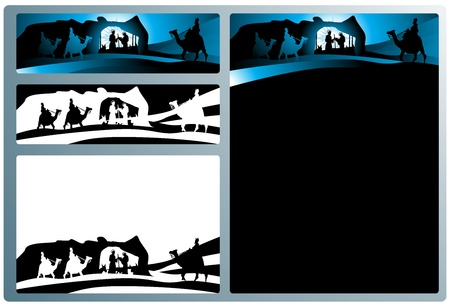 Illustration in different formats, horizontal banner format and horizontal l and vertical letter format. They represent the nativity scene with the three wise men.