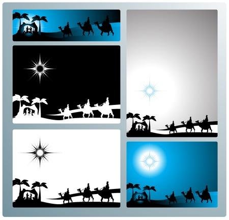 reyes magos: Ilustración en diferentes formatos, formato de banner horizontal y l horizontal y formato de carta vertical. Representan el pesebre con los tres sabios.