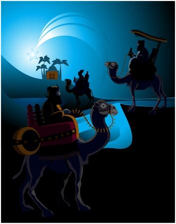 reyes magos: Los tres Reyes Magos y el niño Jesús.