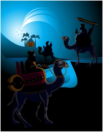 The three wise men and the child Jesus. Vector