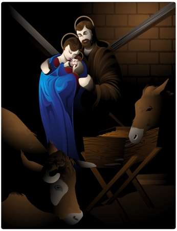 Illustration of the nativity scene with Mary, the child Jesus, San Jose, the ox and the mule. Vector