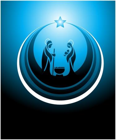 familia cristiana: Icono que representa la escena de la Natividad en azul