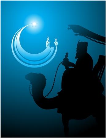 estrella de belen: Belen estrella icono con forma de la Natividad como el hombre sabio está mirando Vectores