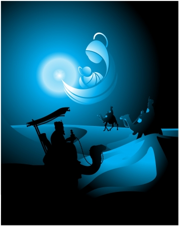 belen star shapes the icon of the Nativity and guide in his journey to the Three Kings Vector