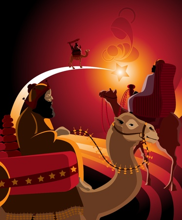 three presents: Illustration of the journey of the Three Kings in warm colors.