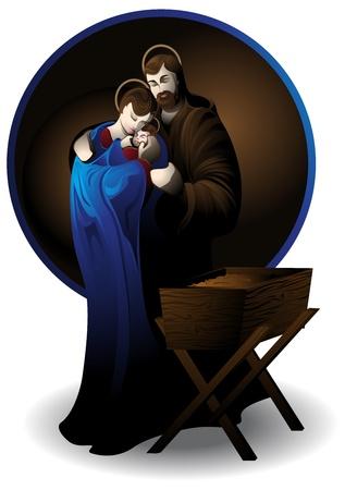 sacra famiglia: Illustrazione del presepe, che si staglia contro sfondo bianco