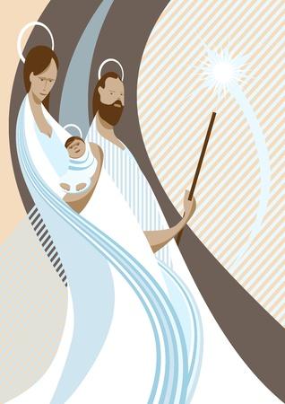 nascita di gesu: Illustrazione del presepe con Maria, il bambino Ges� e San Jose Vettoriali