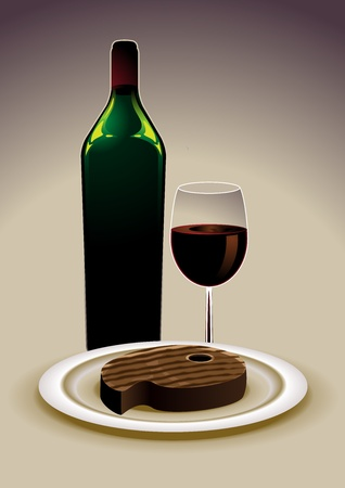 Basic menu with a grilled steak and red wine Vector