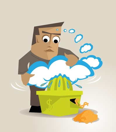 The illustration is a metaphor about making economic returns to the ideas or creativity Vector