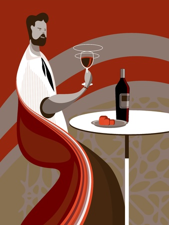 looking through an object: A man tasting wine at a restaurant or wine bar whit food