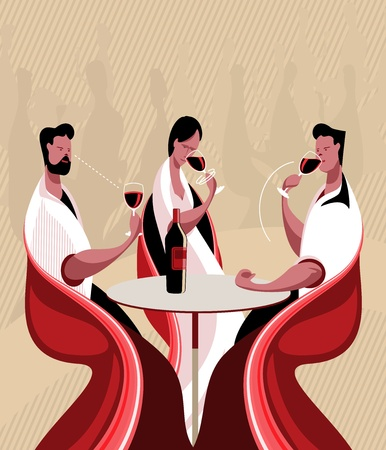 The three steps in tasting a wine are sight, smell and taste. Illustration