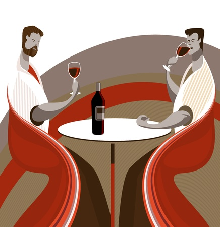 Two friends tasting wine in a restaurant or wine bar Stock Vector - 12791224