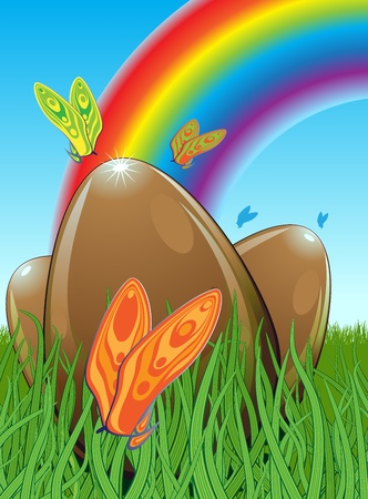 Illustration of three chocolate easter eggs hidden in a meadow with butterflies  In the background you can see the rainbow  Blue, brown and green