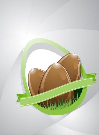 Composition of three chocolate easter eggs on a gray background with copy space. It also has a green ribbon with copy space. This colored in browns, grays and greens. Illustration
