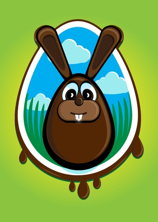 Illustration summarizing the Easter Bunny and Easter eggs in a single image