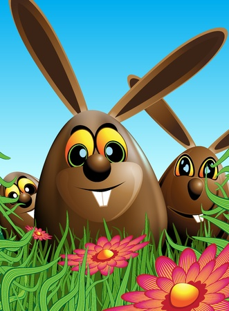 egg shaped: Illustration of three chocolate easter egg shaped Easter rabbit in a meadow with flowers.Blue, brown and green colors. Illustration