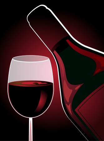 Vertical composition of a glass of red wine and bottle of wine on a dark red background. Illustration
