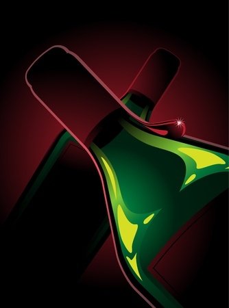 Composition with two bottles of red wine. A bottle of wine having a drop. Red and green colors.