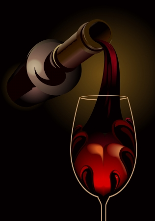 winetasting: 3d dark atmospheric illustration conceptual of drowning your sorrows with the neck of a wine bottle pouring a glass of glowing red wine with copyspace Illustration
