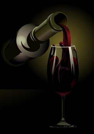 Dark atmospheric 3d illustration of a bottle pouring red wine into an elegant stemmed wineglass with copyspace