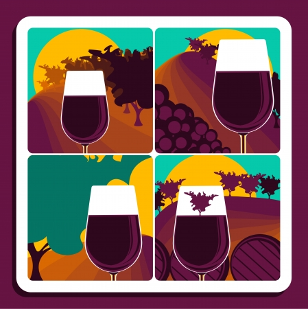 maturing: Set of four illustrations depicting viticulture and wine with a glass of red wine over a different vineyard scene with the addition of harvested grapes, a wine barrel and the final vintage Illustration