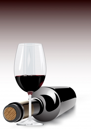 lying in: 3d render of red wine in a wineglass and an unlabelled bottle lying on its side with the cork facing towards the camera on a grey background with colour gradient and copyspace