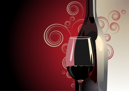Illustrazione 3D di una bottiglia e un bicchiere di vino rosso su uno sfondo bicolore rosso e bianco con sfumatura di colore, motivo decorativo e copyspace per uno sfondo di lusso