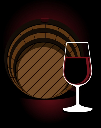 Stylised illustration with a glass or red wine in front of an oak cask in a wine cellar, nightclub, restaurant or pub