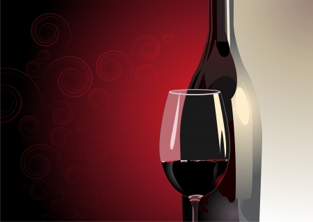 Illustration of a close up view of a glass of red wine with a bottle behind it on a two tone background in grey and red with a highlight and copyspace