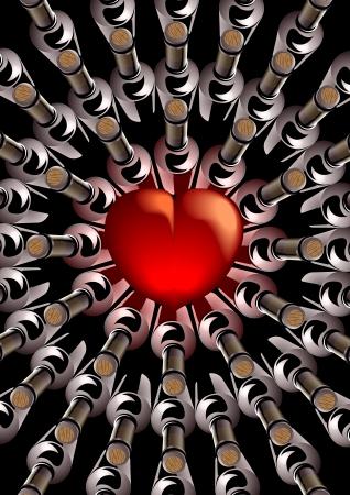 circulos concentricos: 3d hacer con un corazón rojo central con botellas tapadas con corcho de vino visto desde arriba dispuestos en un atractivo modelo de círculos concéntricos alrededor del corazón conceptual de amor y romance