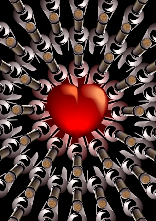 3d render with a central red heart with corked bottles of wine viewed from above arranged in an eye catching pattern of concentric circles around the heart conceptual of love and romance Illustration
