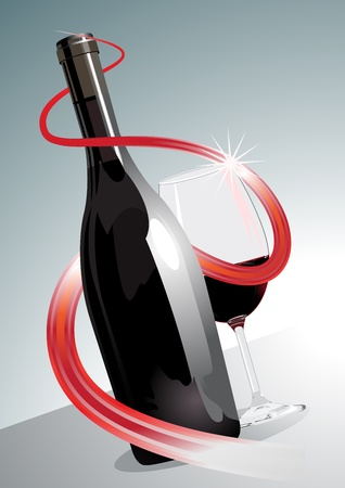 Conceptual illustration of a premium or superior red wine with a wine bottle entwined by a spiral red ribbon alongside a sparkling glass or red wine, tilted view on a grey background