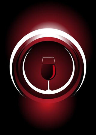 Wine icon design illustration of a glass of red wine inside a 3d circle with a metallic shine on a dark red background