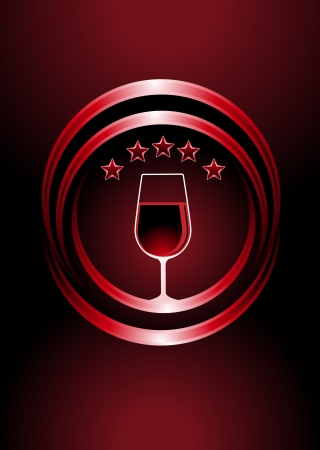 restaurant rating: Icon for premier vintage wines with a wine glass full of red wine in two curved concentric circles with a central glow and five star rating