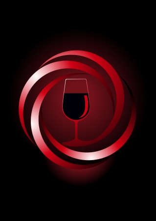 twirled: Dynamic icon for red wine with a glass of red wine inside a spiral twirled frame emerging from the shadows on a dark background