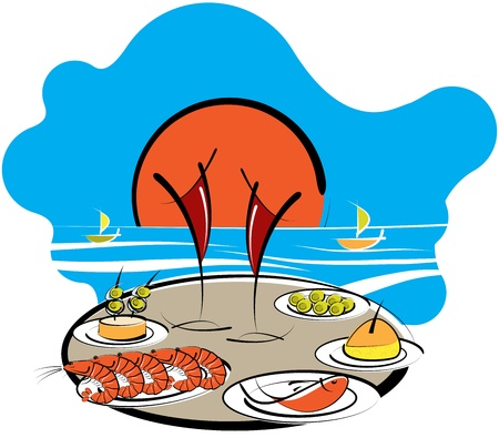 spanish food: Cartoon illustration of a table set with tropical cocktails in tall glasses and Spanish food at the seaside on a summer vacation Illustration