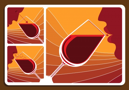 clarity: Wine tasting collage with three illustrations showing a man sniffing the bouquet, doing a visual check of clarity and tasting the wine in a wineglass Illustration