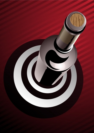 High angle view of a 3d render red wine bottle standing on a target of concentric black and white rings denoting a superior of champion vintage, bottle corked and unlabelled